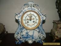 Antique French Clock Delft Style ceramic case