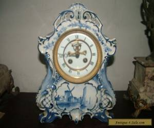 Antique French Clock Delft Style ceramic case for Sale