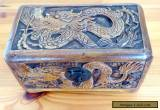 Vintage Carved Wooden Box with Dragon Design  for Sale