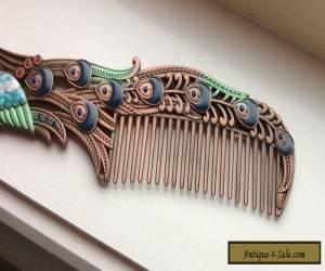 Art Nouveau Copper Vintage Peacock Hair Comb for Sale