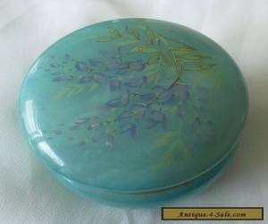 Alabaster Hand Carved Trinket Pot Box Blue Forget Me Not Flower Lid Italy  for Sale