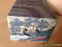 Antique 19th century Chinese Wooden Pigskin Hand hinged painted box/chest