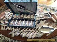 61 PIECE RETRO MID CENTURY CUTLERY SET Flatware 1960s ANGORA SILVER PLATE