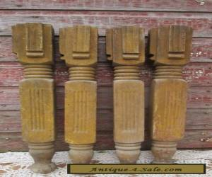 Antique Set of 4 Matching Ornate Oak Wood Table Legs  for Sale