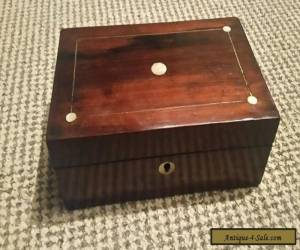 Beautiful old wooden box with mother of pearl inlay  for Sale