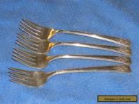 """Set of 4 Vintage Wm Rogers """" Mountain Rose """"  Salad Dessert Forks"""
