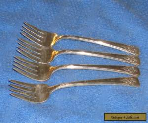"Set of 4 Vintage Wm Rogers "" Mountain Rose ""  Salad Dessert Forks   for Sale"