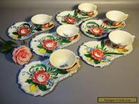 Set 6 Majolica Pottery Nove Rose Italy Cup Plates & Cups Hand Painted c1910