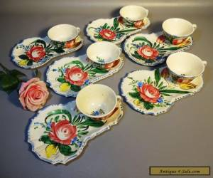 Set 6 Majolica Pottery Nove Rose Italy Cup Plates & Cups Hand Painted c1910 for Sale
