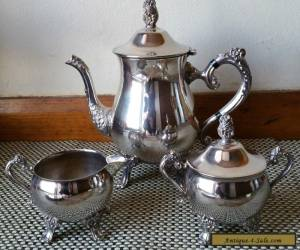 "VINTAGE ANTIQUE ""RANLEIGH"" ORNATE SILVERPLATE TEA / COFFEE SET for Sale"