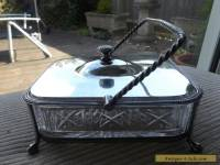 VINTAGE ANTIQUE SILVER PLATED & GLASS SARDINE DISH / BOX