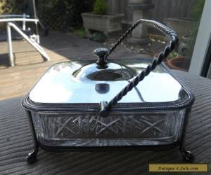 VINTAGE ANTIQUE SILVER PLATED & GLASS SARDINE DISH / BOX for Sale