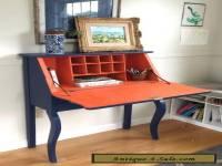 Antique Victorian Oak Secretary Flip Top Desk Hand Painted Distressed & Waxed