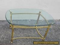 Mid-Century Brass Glass-Top Side Table #2888A