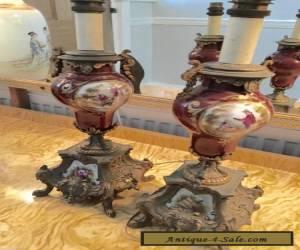 pair antique brass spelter ormolu ceramic purple porcelain  china table lights  for Sale