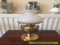 Small vintage brass oil lamp with shade Working order