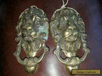 2 x Vintage heavy brass lion door knocker