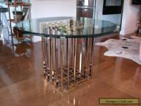 rare PIERRE CARDIN dining TABLE base chrome & brass mid century