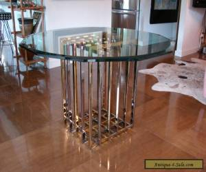 rare PIERRE CARDIN dining TABLE base chrome & brass mid century for Sale