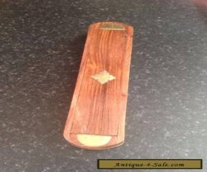 VINTAGE WOODEN PENCIL BOX WITH BRASS INLAY for Sale