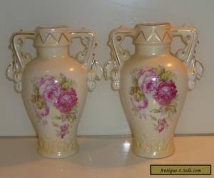 VICTORIAN ART NOUVEAU ROYAL WETTINA ? ROBERT HANKE PAIR VASES for Sale