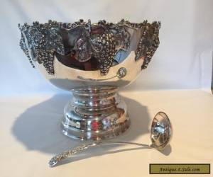 Vintage Silver Plated Pedestalled Punch Bowl Wine Champagne Ladle for Sale