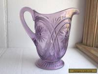"ANTIQUE AMETHYST GLASS PITCHER 8 1/4"" FLOWER EAPG PATTERN 1890s ORIGINAL"