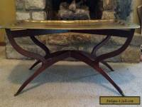 Mid Century Danish Modern Vintage Spider Leg Table Base Ornate Brass Top Table