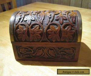 LOVELY CARVED WOODEN CHEST / TRINKET BOX    VERY GOOD CONDITION for Sale