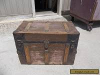 Antique Flat Top Steamer Wood Trunk Chest With Tray
