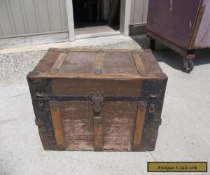 Antique Flat Top Steamer Wood Trunk Chest With Tray for Sale