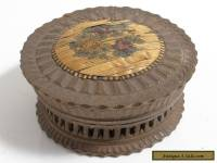 ANTIQUE DELICATE CARVED WOODEN TRINKET POT MOSAIC WITH DAMAGE