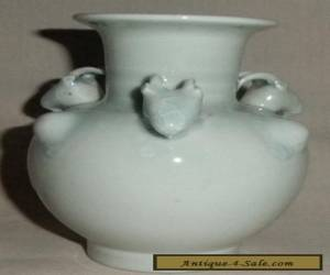 AWESOME OLD CHINESE PALE BLUE CELADON GOAT HEAD VASE for Sale