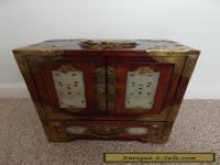 ANTIQUE MAHOGANY  CHINESE JEWELLERY BOX - INLAID JADE - BRASS DECORATION