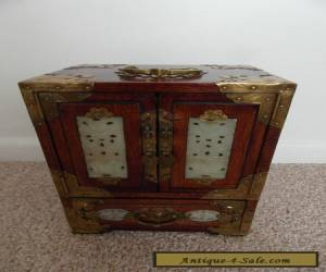 ANTIQUE MAHOGANY  CHINESE JEWELLERY BOX - INLAID JADE - BRASS DECORATION  for Sale