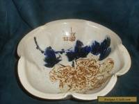 Large Antique Oriental Pinched Scalloped Bowl