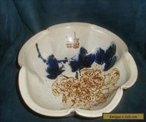 Large Antique Oriental Pinched Scalloped Bowl for Sale