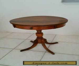 Vintage Antique Federal Style Solid Walnut 1 Drawer Drum Table / Lamp Table for Sale