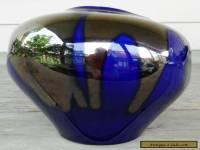 Large Vintage Haeger Mid-Century FREEFORM VASE: Metallic Glaze Over Deep Blue