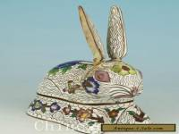 Delicate Asian Chinese Old Cloisonne Hand Carved Rabbit Statue Box Collectables