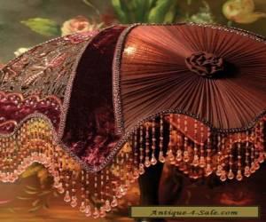 Victorian Portobello  Embroidered Velvet Burgundy Lamp Shade,12'' x 17''. for Sale