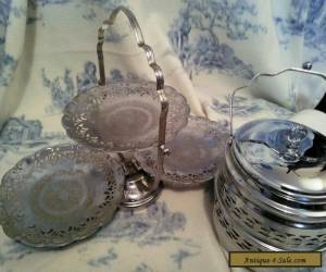 Vintage silver cake stand and biscuit barrel for Sale