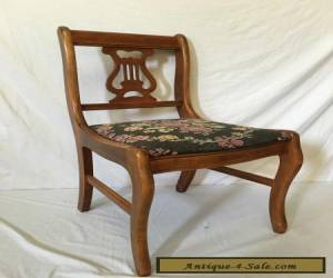 Beautiful Antique Vintage Needlepoint  Wood Harp Lyre Chair  for Sale