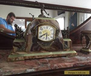French Art Deco Clock Marble Bronze stunning pendule uhr circa 1925 for Sale