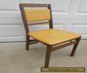 "Vintage STAKMORE Mid Century Wood 32"" Gold Padded Folding Side Chair for Sale"