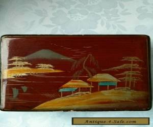 Vintage Antique Cherry Colored Hand painted wooden  Box .  Japan  for Sale