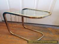 Vintage mid century Glass and Gold brass tone Side End Table