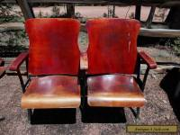 2 ANTIQUE VINTAGE AMERICAN SEATING CO. WOOD MOVIE THEATER CHAIR SEATS !!!