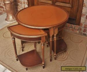ANTIQUE FRENCH LOUIS XVI SET 5 NESTING TEA TABLES GILT MAHOGANY WOOD LEATHER TOP for Sale