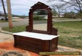 Beautiful Victorian Walnut Marble Top Dresser With Mirror for Sale